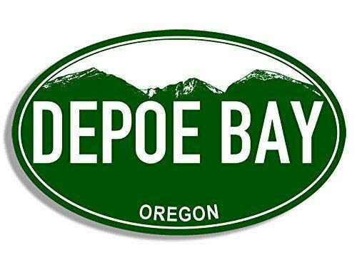 MAGNET 3x5 inch Green Mountain Oval Depoe Bay Oregon Sticker (or rv Visit Logo) Magnetic vinyl bumper sticker sticks to any metal fridge, car, signs