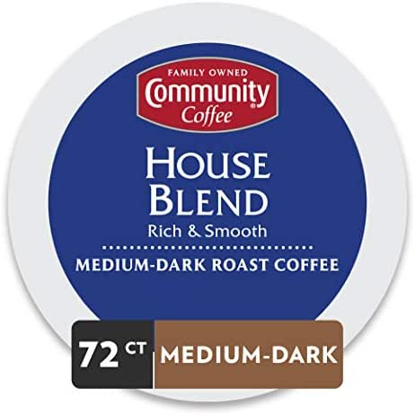 Community Coffee House Blend Medium Dark Roast Single Serve 72 Ct Box, Compatible with Keurig 2.0 K Cup Brewers, Medium Body Rich Smooth Taste, 100%  Arabica Coffee Beans