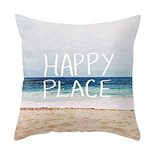"Price comparison product image YANGYULU Happy Place Sea Beach Cotton Linen Home Decorative Throw Pillow Case Sofa Cushion Cover 18"" x 18"""