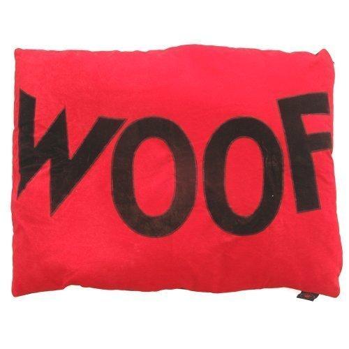 Creature clothes-Dog Doza letto-cioccolato 'Woof' su rosso-fatto a mano nel Regno Unito-grande 86x 107cms