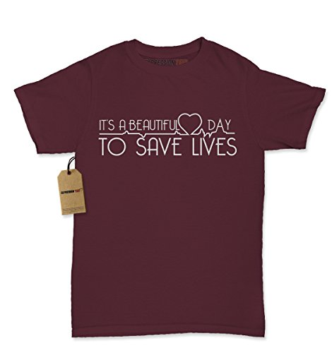 Womens It's A Beautiful Day To Save Lives T-Shirt Large Maroon