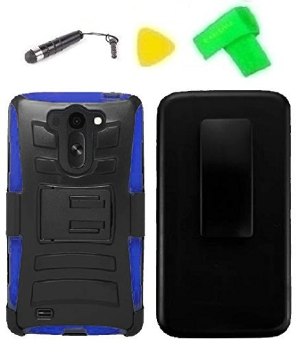 Belt Clip Holster w Kickstand Heavy Duty Hybrid Phone Case Cover Cell Phone Accessory + Stylus Pen + Yellow Pry Tool for LG G Vista VS880 (Belt Clip Holster Black/Blue)