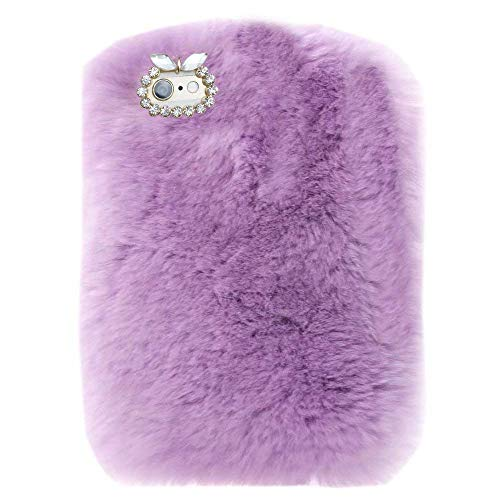 Case for Fire HD 7 (2014 Oct Release),Bling Rhinestone Fuzzy Faux Rabbit Furry Fluffy Beaver Rex Rabbit Fur Protective Case for Amazon Fire HD 7 (4th Generation) 2014 model(Light - 2014 Kindle Hd Bling Fire 7 Case