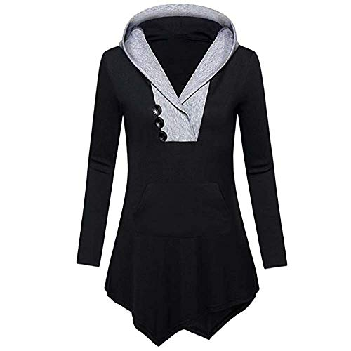 Bouton Manche Magiyard Shirt Tops Sweat avec Noir Dcontracte Irrgulier Longue Hem Femmes Chemise YwwfB