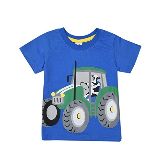 DIGOOD Teen Baby Boys Tractor Short Sleeve T-Shirt,for 1-8 Years Old,Kids Cartoon Blouse Tops Clothes Set (Blue, 3-4 Years Old)