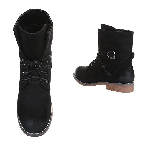 W305 Lace Boots Heel Ital Block Boots Up Women's Design Ankle Black ZwxWqUnOW