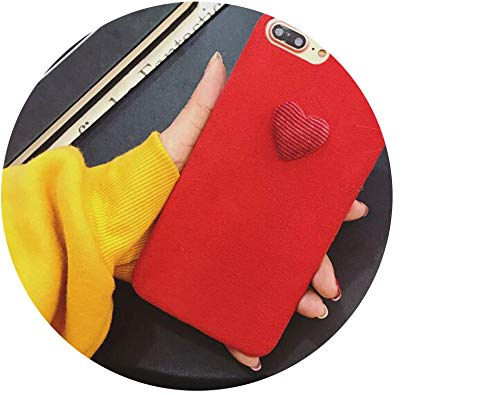 Winter Warm Plush Love Heart Phone Cases for iPhone 6 6S 7 8 Plus Cover Furry Fur Soft TPU Cover for iPhone X XR XS MAX,Red,for iPhone ()