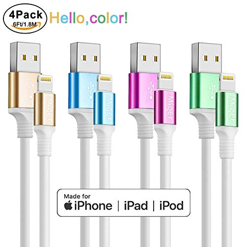 - Miger [MFi Certified ] Charging Cable,4Pack 6Ft/1.8m A to USB Cable & Sync Charge Data Cable Compatible with iPhone X,8,8Plus,7,7Plus,6S,6Plus,SE,5S,5,iPad,iPod Nano 7