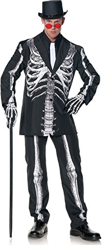 Skeleton Halloween Costume Man (Underwraps Men's Plus-Size Bone Daddy Skeleton Suit Costume, Black & White, XX-Large)