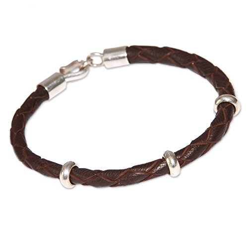 NOVICA .925 Sterling Silver Leather Men's Bracelet, 8.75