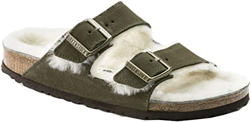 Birkenstock Arizona Forest Natural Shearling Suede Unisex Sandals 42 (US Women's 11-11.5)