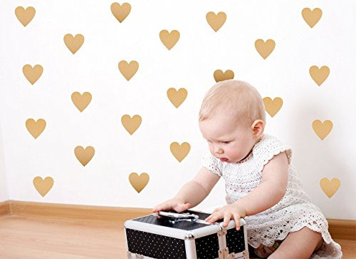 Gold Heart Wall Decals (200 2 inch Decals) Easy Peel and Stick Metallic Gold Finish Removable Decals Safe on Painted Walls Personalized Baby Nursery Art