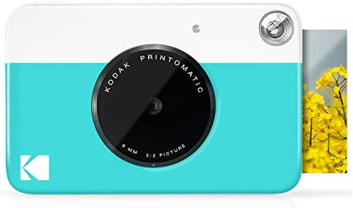 "KODAK Printomatic Digital Instant Print Camera - Full Color Prints On ZINK 2x3"" Sticky-Backed Photo Paper (Blue) Print Memories Instantly"