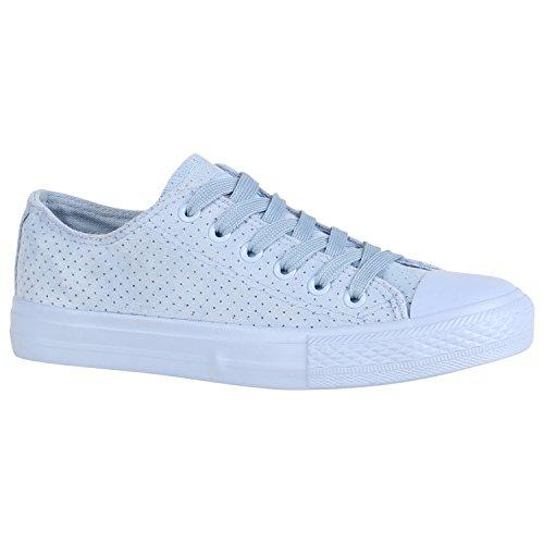 Damen Stiefelparadies Übergrößen Low Sneaker Herren Unisex Hellblau Flandell Velours 5wBrvw6xqg