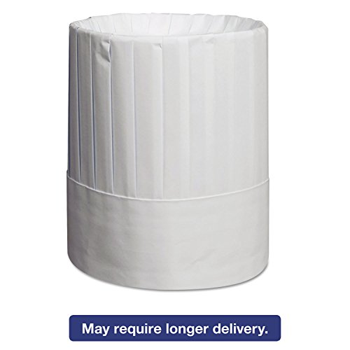 (RPPRCH9 Pleated Chefs Hats, Paper, White, Adjustable, 9quot; Tall)