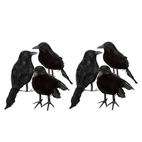 Baoblaze 6 Pieces Set Foam Fake Black Crows Birds Ravens Ornaments Halloween -