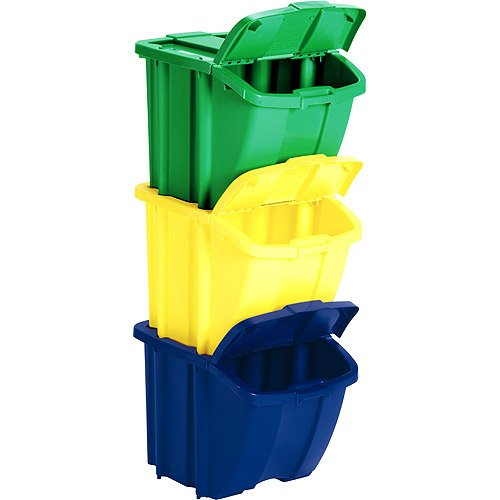 MD Group Stackable Recycle Bins (Set of 3), 18'' x 17'' x 47 lbs