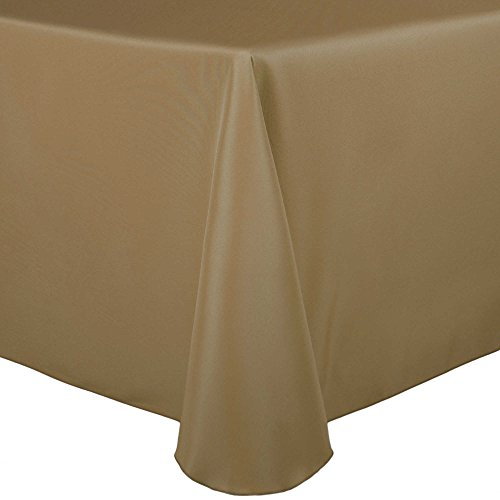 Ultimate Textile (3 Pack) 90 x 156-Inch Rectangular Polyester Linen Tablecloth with Rounded Corners - for Wedding, Restaurant or Banquet use, Cafe Khaki by Ultimate Textile (Image #2)'