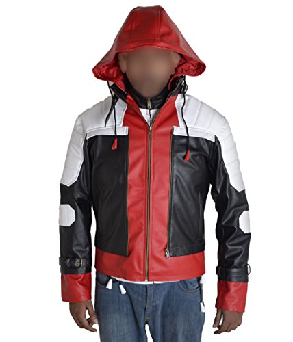 Real Batman Costume Dark Knight (MSHC Batman Arkham Dark Knight with Red Hood Faux Leather Jacket Black White Red (LARGE for chest size 42