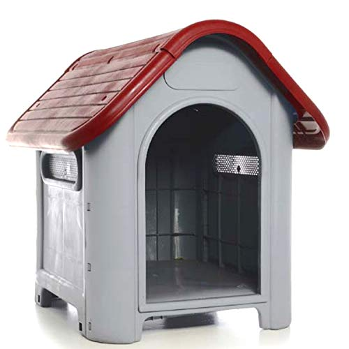 LavoHome All Weather Doghouse Puppy Shelter Pet Dog House Portable Waterproof Plastic Roof Cat Dogs House|Comfortable Cool Shelter | Durable Plastic Design | Home Kennel | (Red)