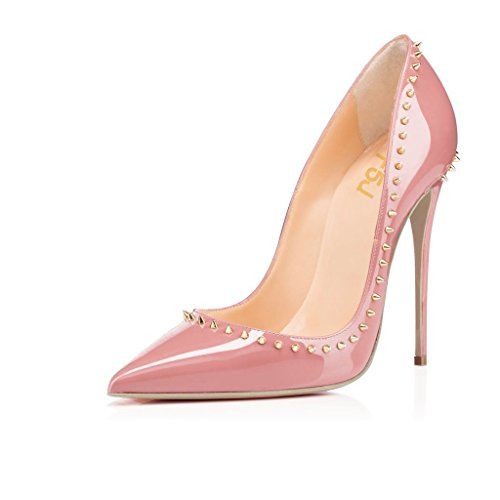 ted Toe High Heel Stilettos Rivets Studded Patent Leather Shoes Size 10 Light Pink (Pink Patent Pointed Toe Heels)