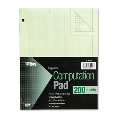 Tops Engineering Computation Pad - 50 Sheet - 15lb - Ruled -