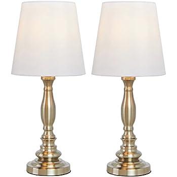 SOTTAE Beige Fabric Shade Table Lamp,White Brushed Nickel Bedroom  BedsideLiving Room Lamps (Set