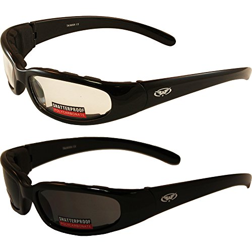 2 Black Frame Motorcycle Riding Glasses Sunglasses Day and Night Smoke Clear Lens Has EVA Foam Padding to Protect Against Wind and Dust Shatterproof Polycarbonate Lenses Also Great for ATV ()