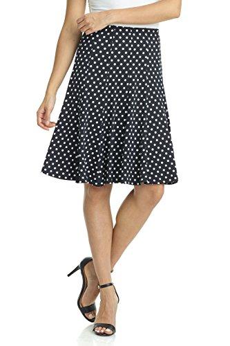(Rekucci Women's Ease into Comfort Flared Knee Length Knit Skirt (XX-Large,Black White Polka Dot))