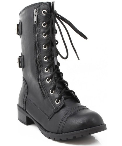 Soda Dome-SA Vegan Lace Up Mid Calf Women Military Boot,Dome