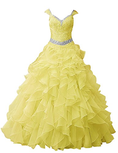 Dresstells®Vestido Largo De Princesa Romántico Con Tirantes Amarillo