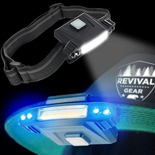 Hat Light Rechargeable LED Headlamp : Best Head Lamp Clip On Flashlight Torch With Brightest Lumens Lights For Running Camping Cycling & Work. Bright UV Blue & White Headlight Bulb With USB Charger -