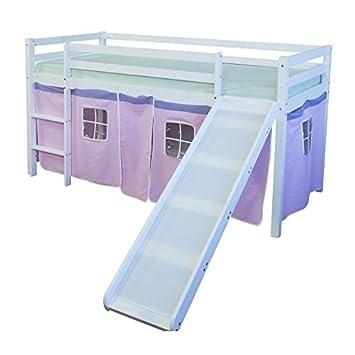 Cama Mezzanine 90 x 200 cm con escalera tobogán en madera blanco y lienzo rosa lit06116: Amazon.es: Hogar