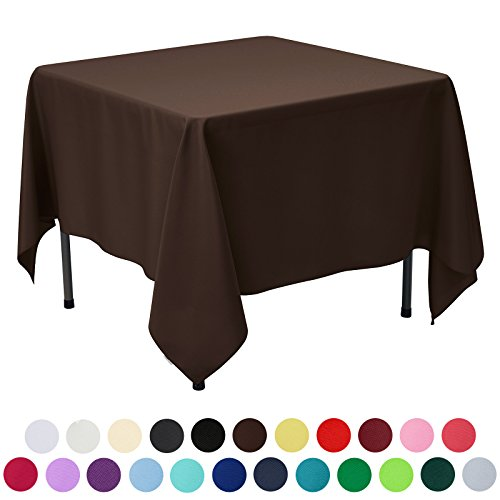 VEEYOO 85 inch Square Solid Polyester Tablecloth for Wedding Restaurant Party, Chocolate Square Rectangular Dining Tables