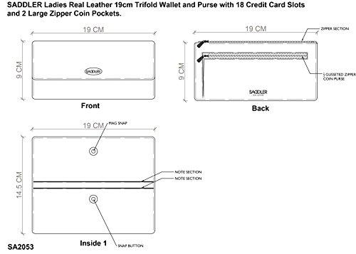 SADDLER Trifold Geldboerse fuer Damen aus Echtleder mit 18 Kreditkartenplaetzen und 2 grossen Muenzfaecher mit Reissverschluss, 19 cm schwarz