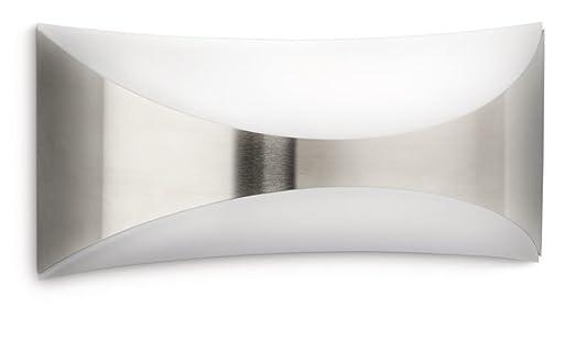 Philips myGarden Seedling - Aplique en acero inoxidable, luz blanca cálida, casquillo gordo E27 bombilla incluida, color gris, iluminación exterior