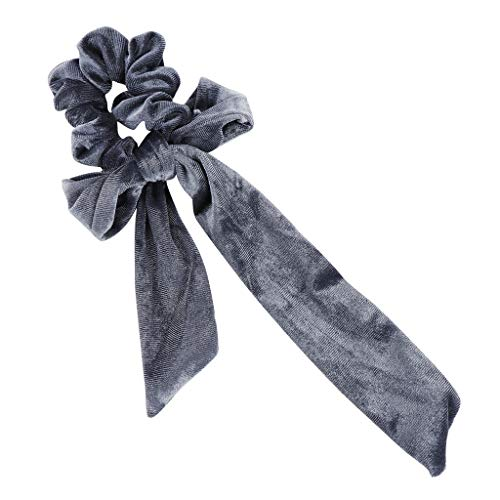 〓COOlCCI〓Hair Scrunchies Bowknot Women, Velvet Scrunchy Elastic Hair Bands,Hair Rope Ties Hair Hair Accessorie Gray