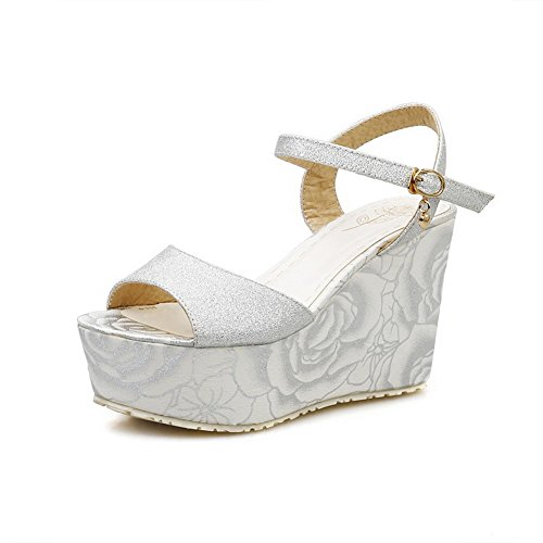 AllhqFashion Women's Soft Material Open Toe High-Heels Buckle Assorted Color Sandals Silver TGuUveUA