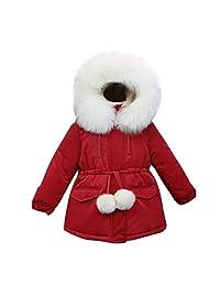 Kanodan Kids Girl Winter Fur Hooded Thick Jacket Cotton Warm Snowsuit 2-12Years