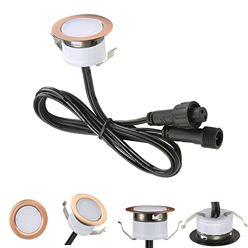 LED Deck Lights Kit, Low Voltage 30 pcs Waterproof IP65 Φ1.22'' Recessed Deck Lamp Warm White LED In-ground Lighting Outdoor Garden Yard Pathway Patio Step Stairs Landscape Decor Lamps, Red Bronze by Sumaote (Image #1)