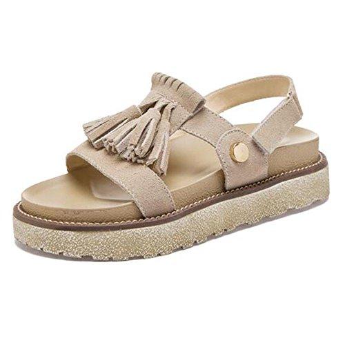 manera las borlas verano de la la Sandalia Velcro Khaki de mujer de del de ItwCW0q6yx