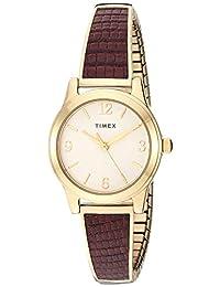 Timex TW2T316009J - Pulsera elástica para mujer (25 mm, correa de acero inoxidable de cuarzo analógico, café, 12 relojes informales)