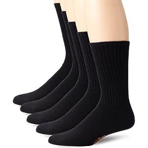 Dockers 5 Pack Cushion Comfort Sport Crew Socks Black Sock Size: 10-13/Shoe Size: 6-12
