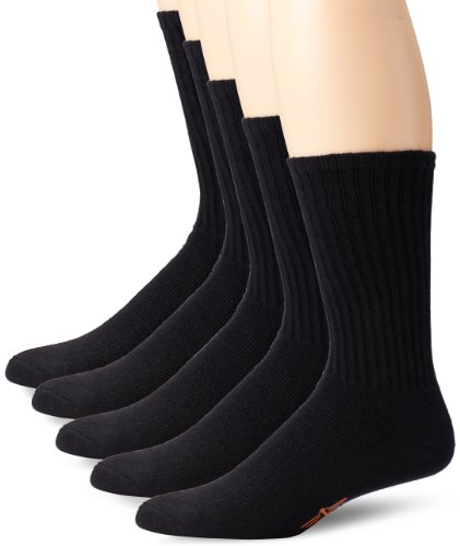 Dockers 5 Pack Cushion Comfort Sport Crew Socks Black Sock Size: 10-13/Shoe Size: 6-12