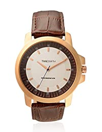 TimeSmith Limited Edition Off White Dial Brown Genuine Leather Watch for Men TSM-096