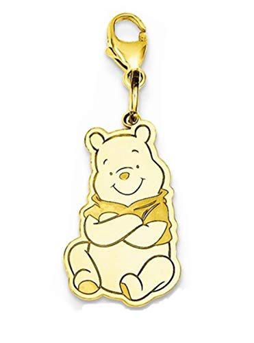 Roy Rose Jewelry Gold-plated Sterling Silver Winnie the Pooh Lobster Clasp Charm Necklace Complete with 18