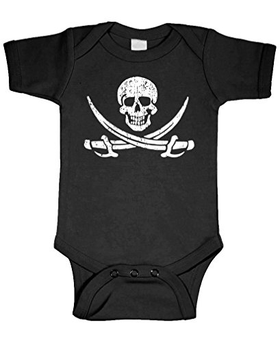 (Jolly Roger Pirate Skull Crossed Swords - Cotton Infant Bodysuit, NB, Black)