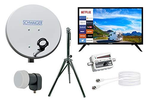SCHWAIGER -TVSET3- Camping-Sat-Anlage digital komplett|Camping Satellitenschüssel|Smart TV 24″ Zoll|Single LNB|Sat Finder|Sat-Kabel 10 m|Dreibeinstativ|Sat Antenne aus Stahl 42 x 42cm