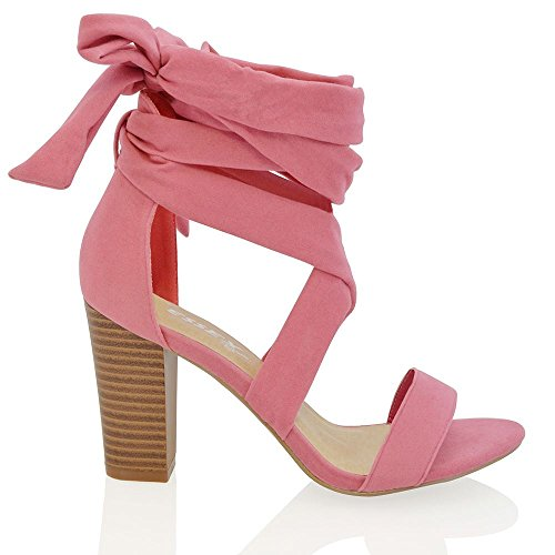 Ankle Sandal Suede Party Peep Womens GLAM Tie Toe ESSEX Shoes Wrap Lace Heel Faux Block Up Ladies Coral YUAwq
