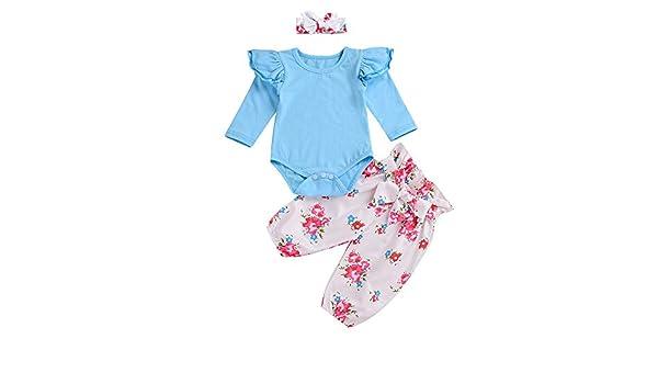 1da81500b95f Amazon.com  Wenjuan Infant Baby Girls  Long Sleeve Solid Blouse Jumpsuit  Romper Tops+Floral Haber Pants Leggings+Headband Outfits Set (6M)  Clothing